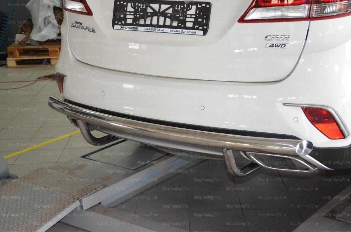Защита заднего бампера Hyundai Grand Santa Fe (2017-)