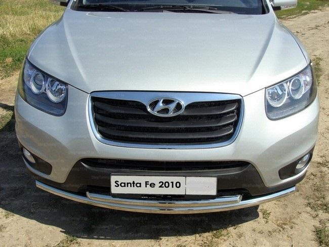Защита передняя нижняя двойная 60.3-42.4 мм Hyundai Santa Fe (2010-)