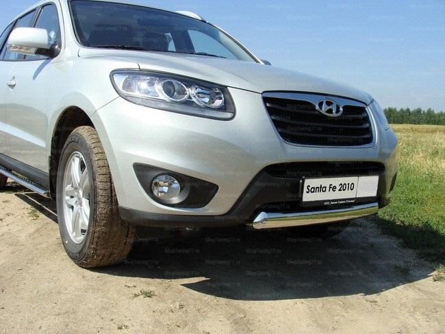 Защита передняя нижняя (овальная) 75х42 мм Hyundai Santa Fe (2010-)
