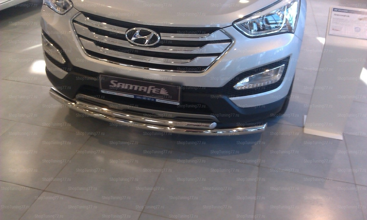 Защита переднего бампера двойная 60-42 мм Hyundai Santa Fe (2013-)