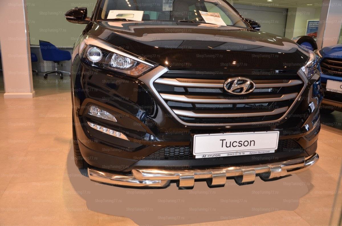 Защита переднего бампера Hyundai TucsonG (грюндик) Style