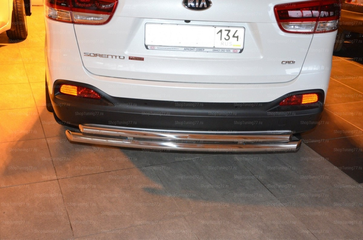 Защита заднего бампера двойная 60/42 мм Kia Sorento 2015 Kia Sorento Prime (2015-)