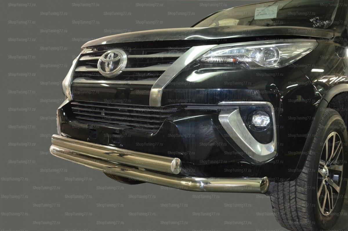 Защита переднего бампера двойная 76/75*42мм.Toyota Fortuner 2017 -