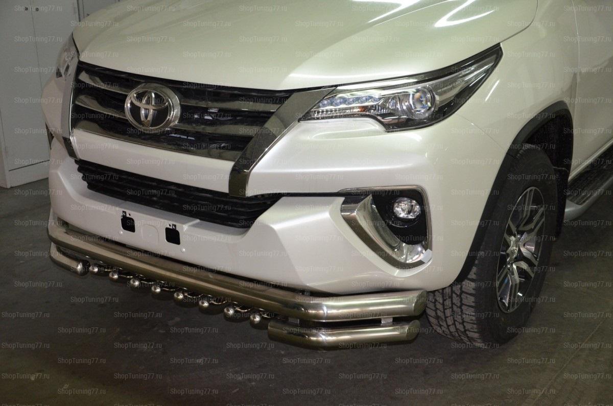 Защита переднего бампера 76/60/42мм. Toyota Fortuner  с защитой акулы 2017-