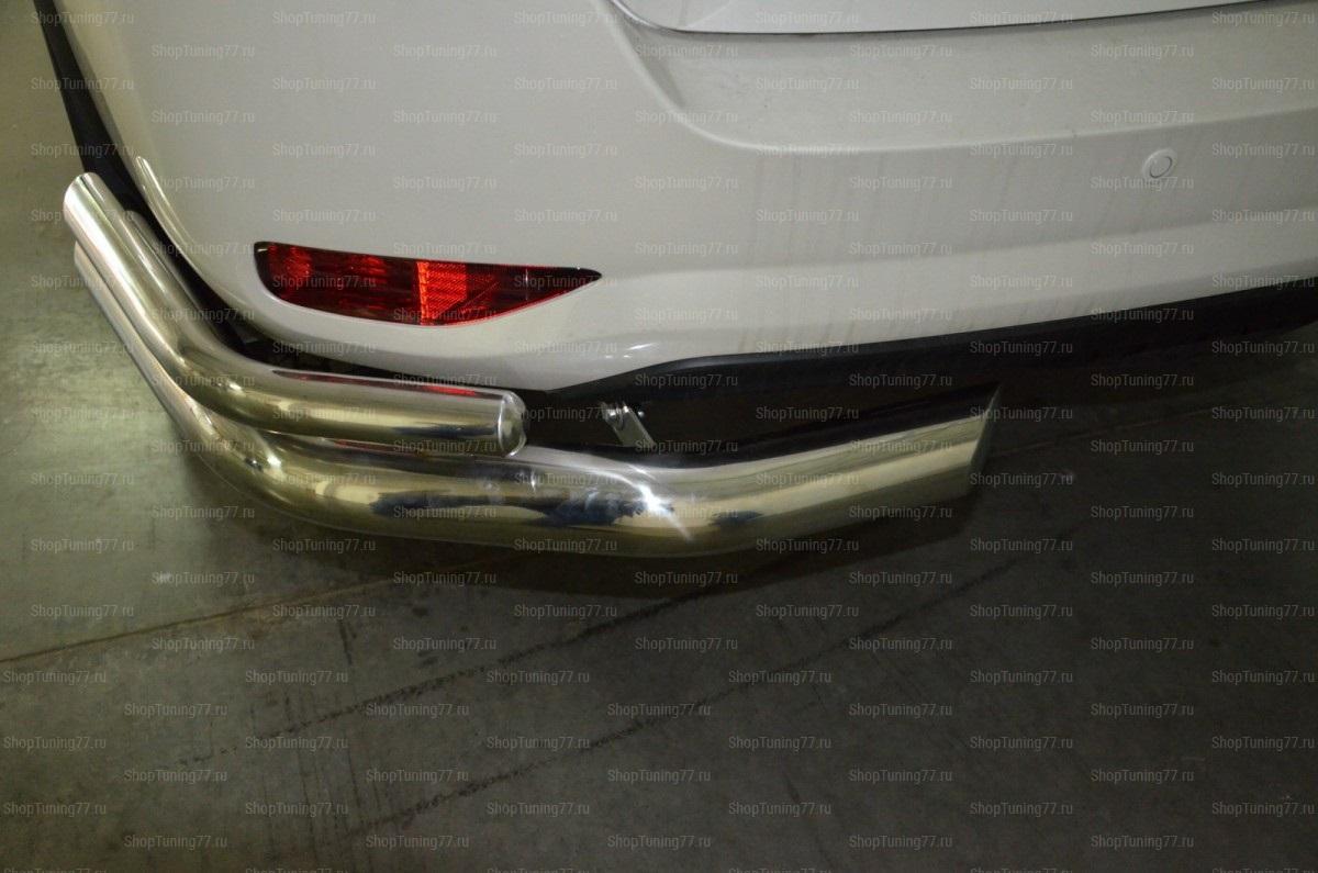Защита заднего бампера угловая двойная 76/42мм. Toyota Fortuner 2017-