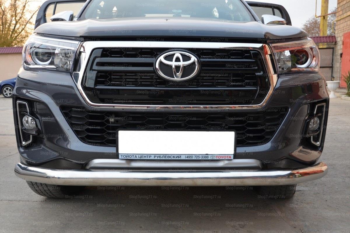 Защита переднего бампера 76 мм Toyota Hilux 2018-
