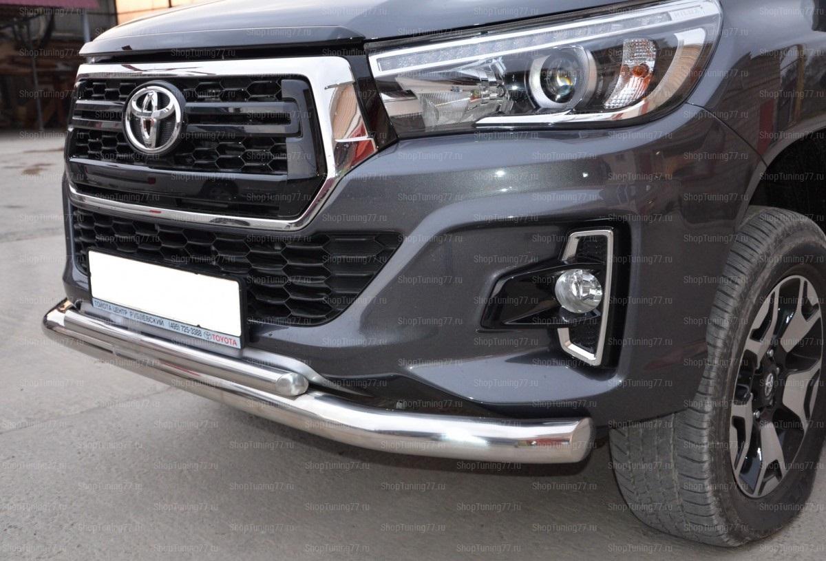 Защита переднего бампера двойная 76/42 мм Toyota Hilux 2018-