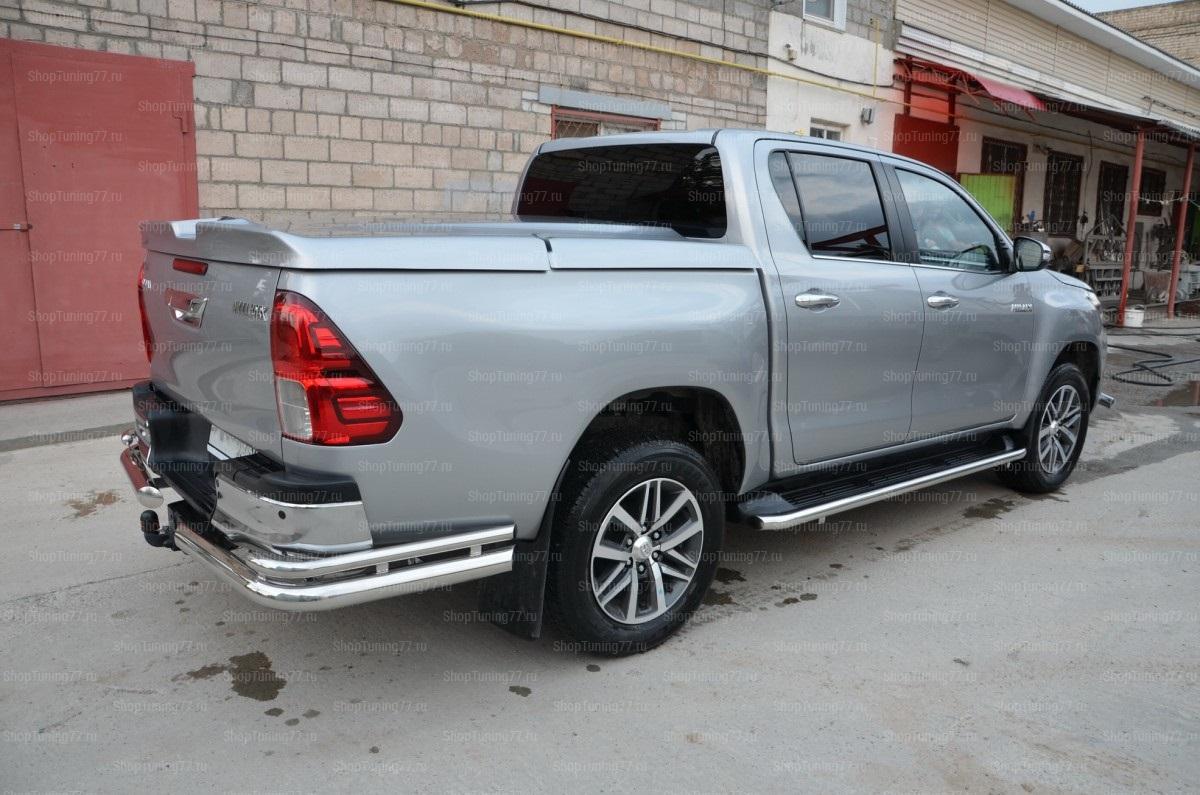 Защита заднего бампера уголки двойные 76/42 мм Toyota Hilux 2018- большие