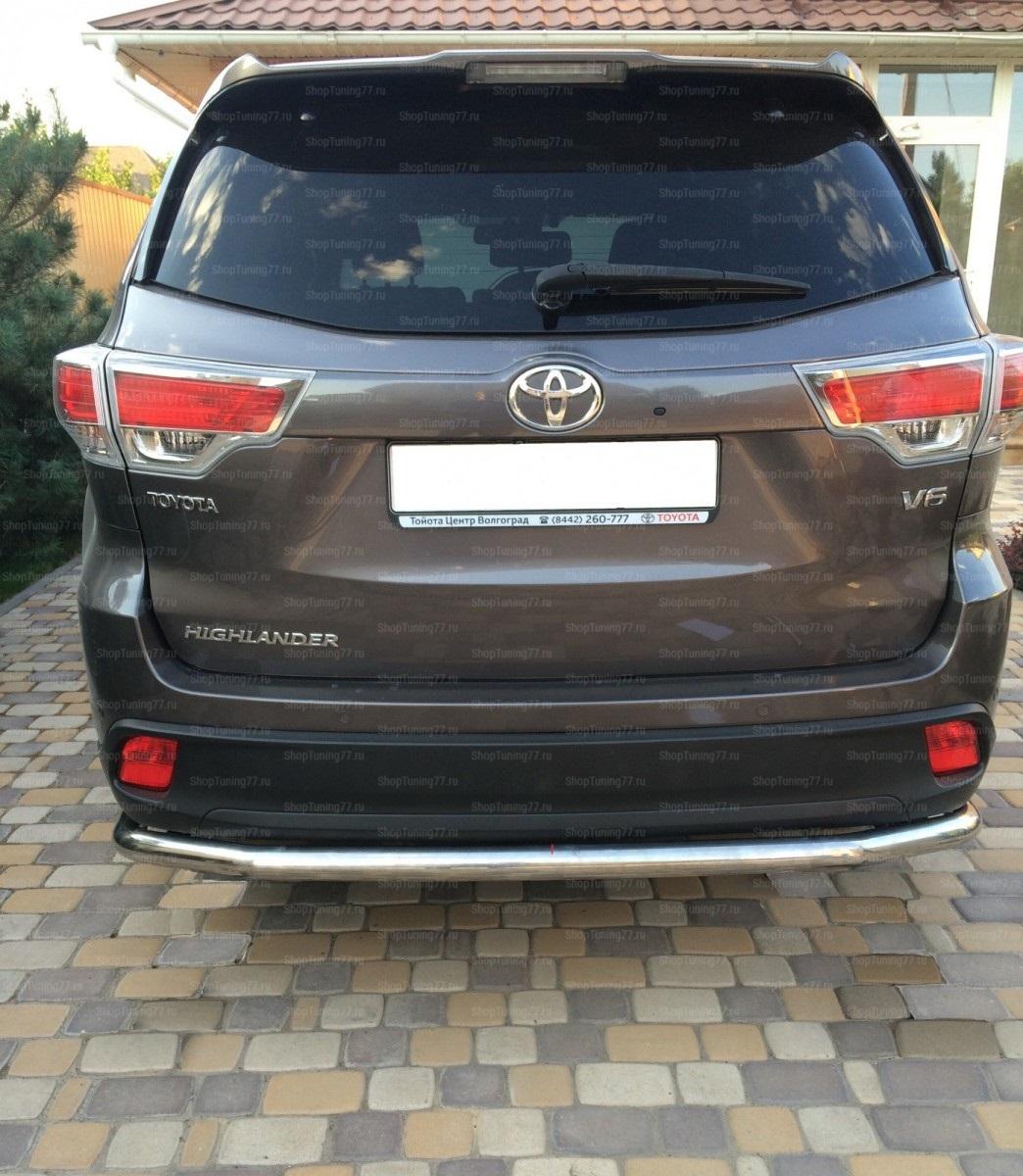Защита заднего бампера с загибами 60 мм Toyota Highlander 2014-