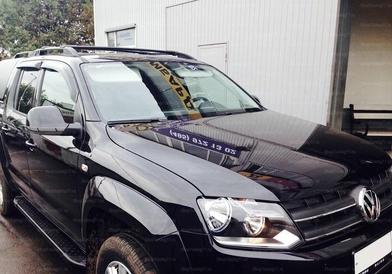 Пороги алюминиевые (Sapphire Black) Volkswagen Amarok