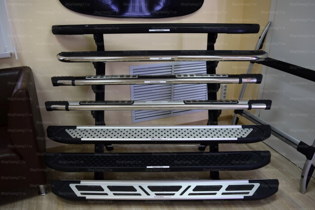 Пороги алюминиевые (Corund Silver) для Volkswagen короткая база.