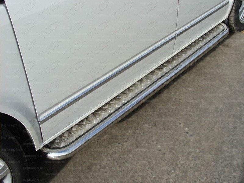 Пороги нержавеющая труба с листом  d 60 мм Volkswagen короткая база