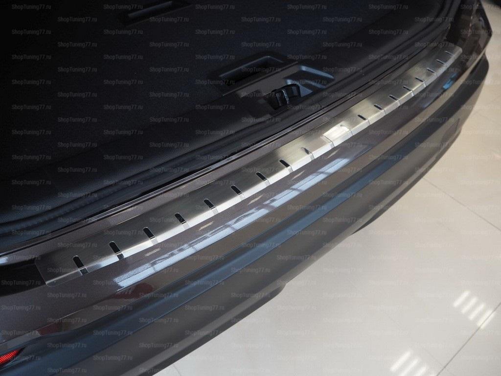 Накладка на задний бампер профилированная с загибом (нержавеющая сталь) для Nissan Qashqai II рест. (2017-) FL