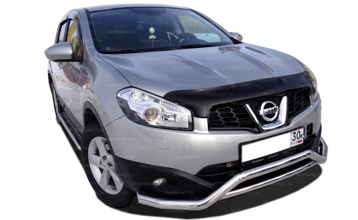 Защита переднего бампера скоба широкая Nissan Qashqai 2008
