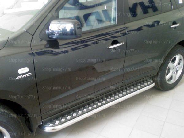 Пороги с алюмин. листом 53 мм Hyundai Santa Fe (2006-)