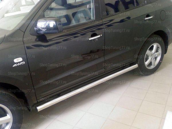Пороги труба 60мм Hyundai Santa Fe (2006-)