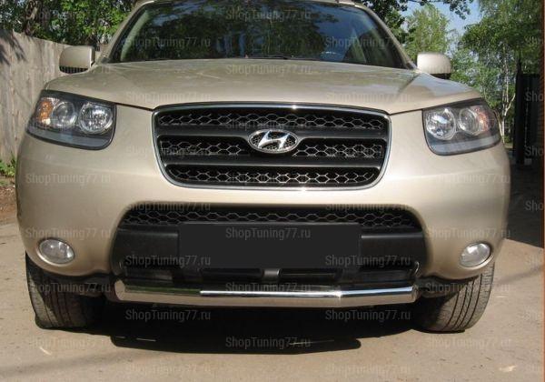 Защита передняя (труба) 76 мм Hyundai Santa Fe (2006-)