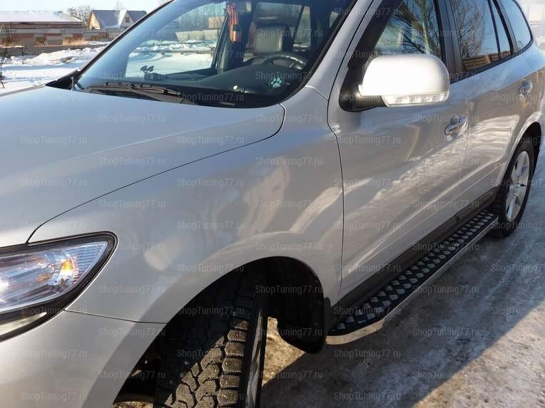 Пороги с листом из прямоугольного профиля 5дв 20х40 мм Hyundai Santa Fe (2006-)