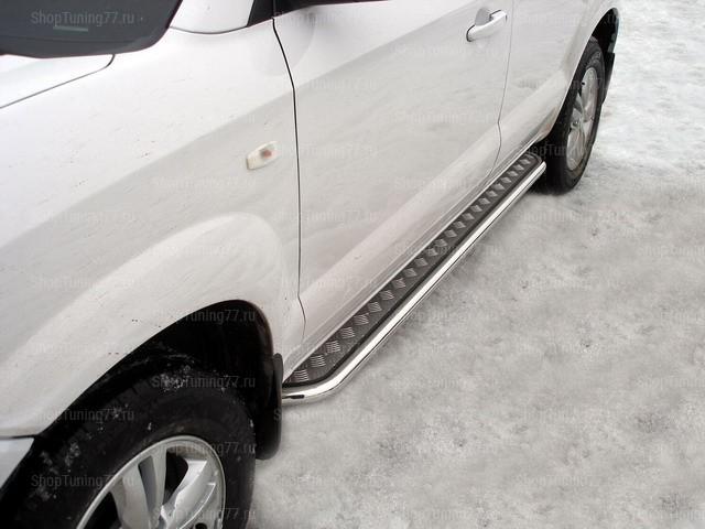 Пороги с алюмин. листом 42мм Hyundai Tucson