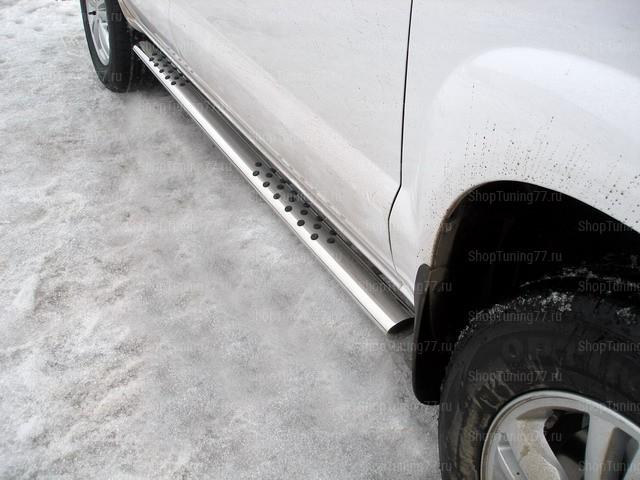 Пороги овальные с проступью 75*42 мм Hyundai Tucson