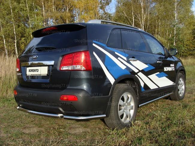 Защита заднего бампера (уголки) 60 мм Kia Sorento (2009-)