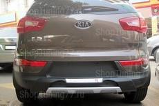 Накладка на задний бампер большая с хромом Kia Sportage R (2010-)