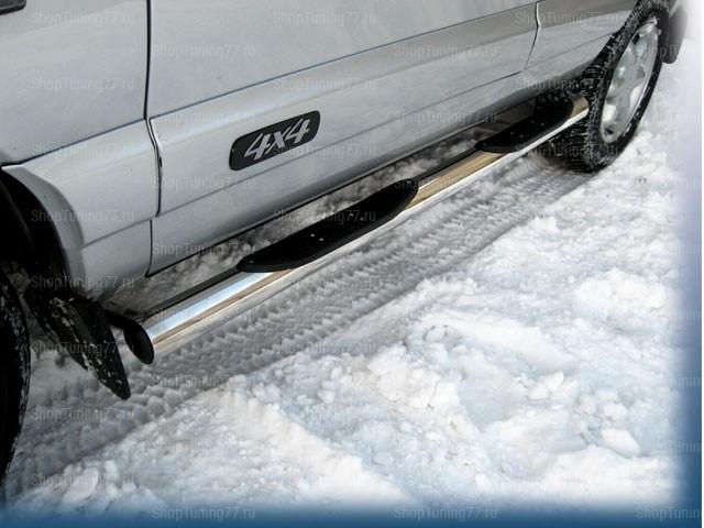 Пороги труба с накладками 76 мм Chevrolet Niva (2009-)