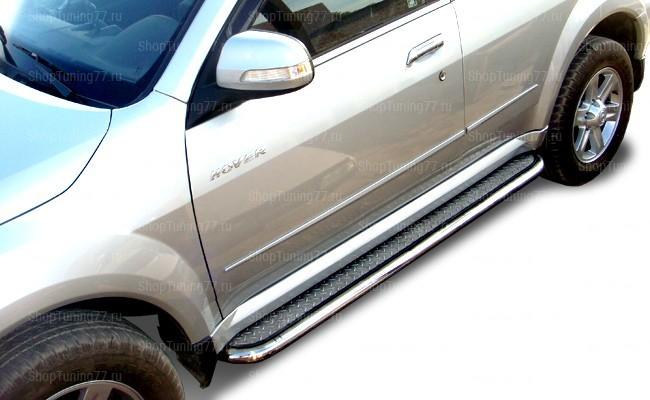 Пороги нержавейка 60 мм с листом Great Wall Hover H3