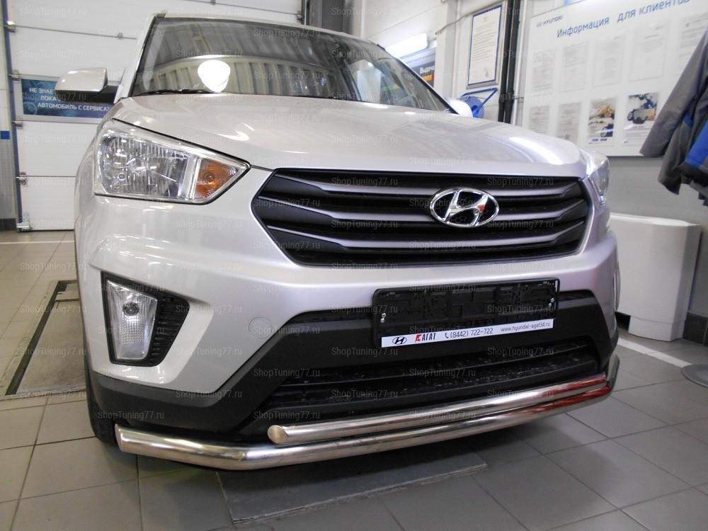 Защита переднего бампера двойная 60/42 мм  Hyundai Creta (2016-)