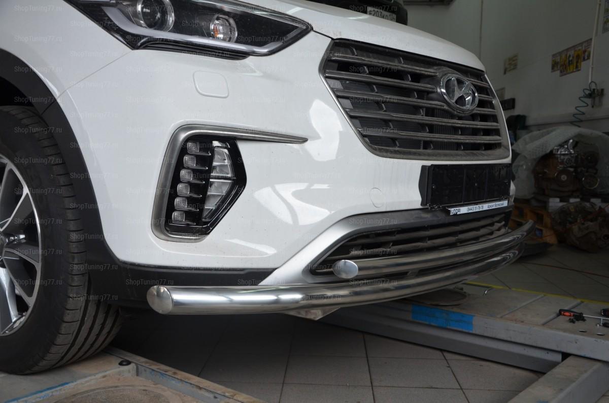 Защита переднего бампера двойная Hyundai Grand Santa Fe (2017-)