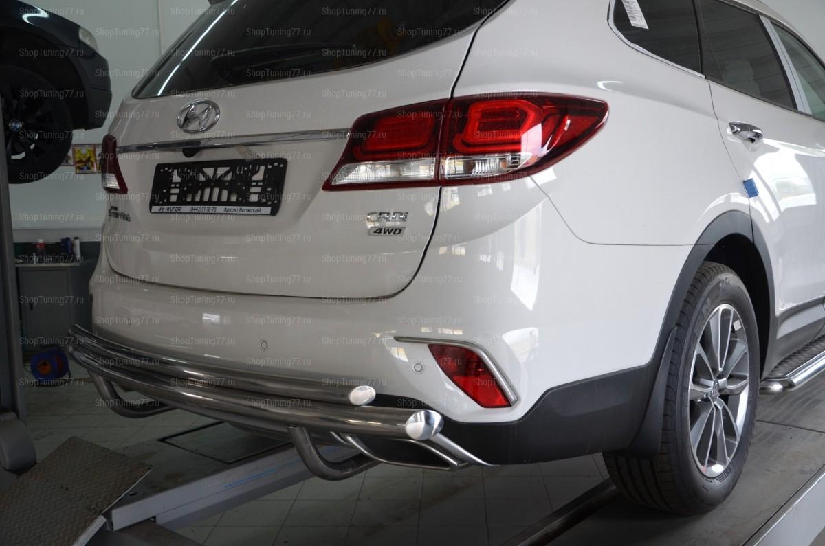 Защита заднего бампера двойная Hyundai Grand Santa Fe (2017-)
