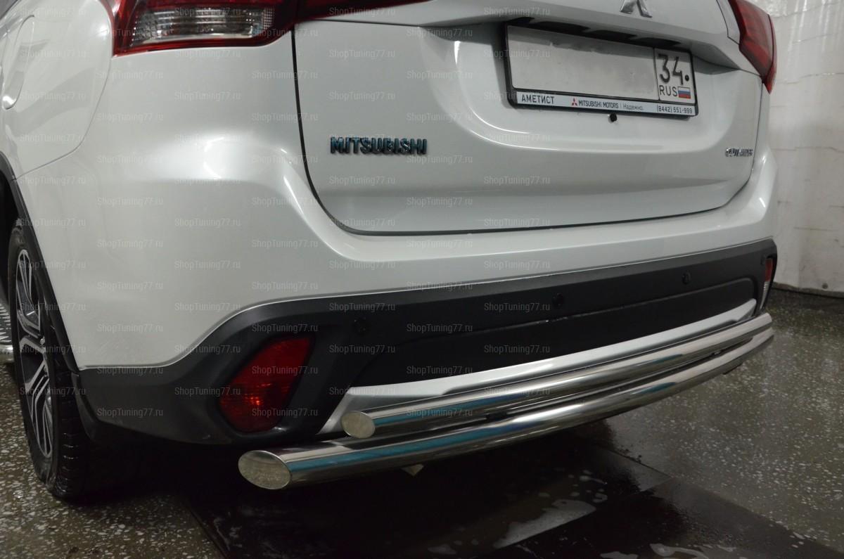 Защита заднего бампера двойная Mitsubishi Outlander (2016-)