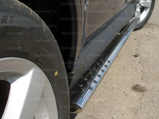 Пороги овальные с проступью 75*42 мм Mitsubishi Outlander XL
