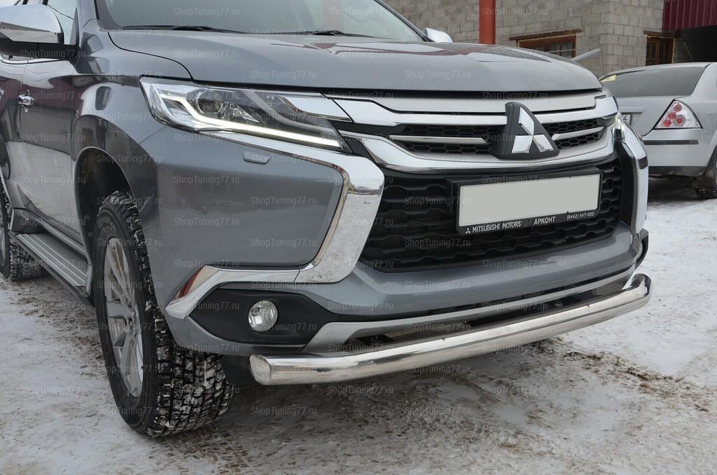 Защита переднего бампера одинарная Mitsubishi Pajero Sport (2017-)