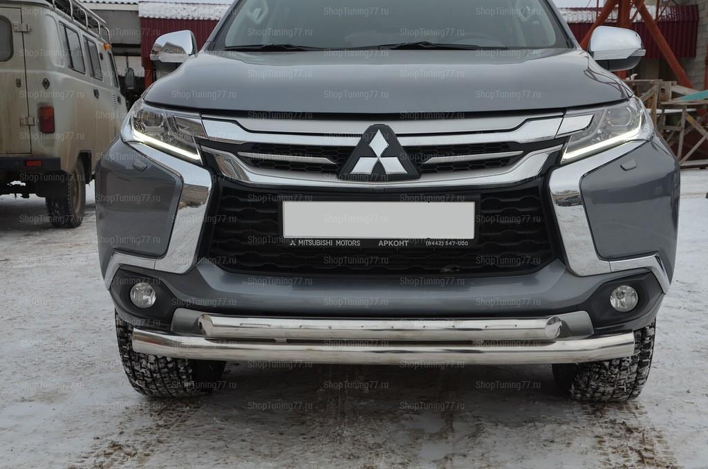 Защита переднего бампера двойная Mitsubishi Pajero Sport (2017-)