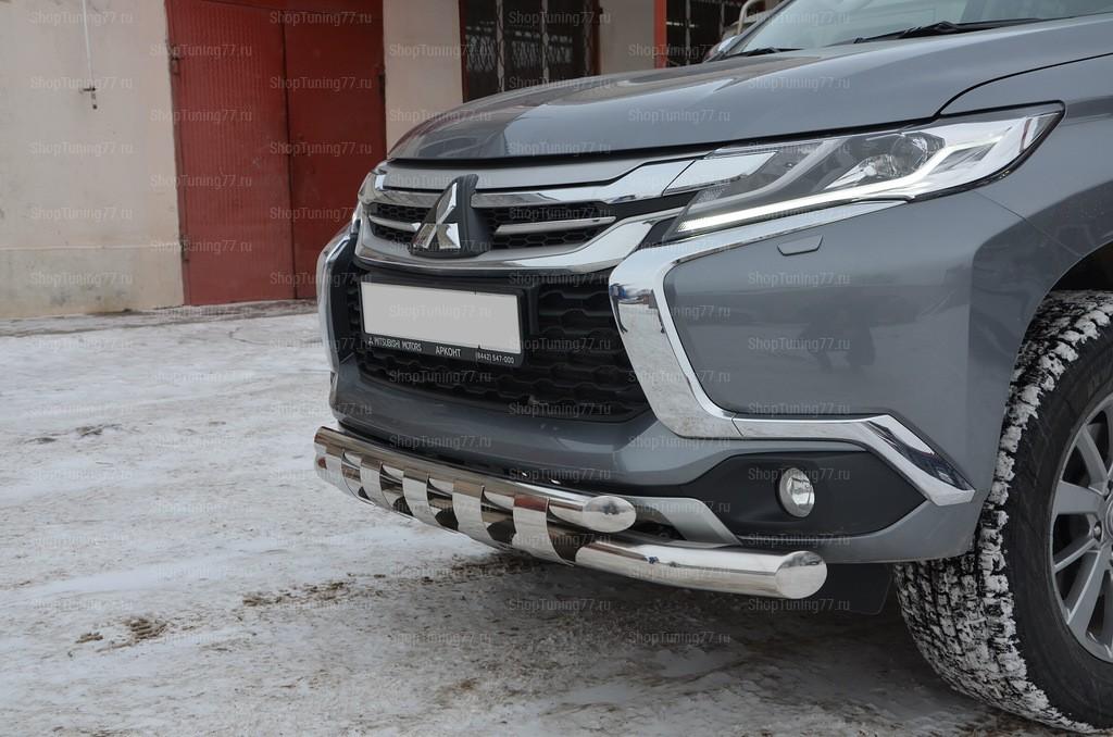 Защита переднего бампера с пластинами Mitsubishi Pajero Sport (2017-)