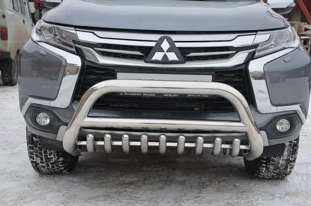 Защита переднего бампера «Акула» Mitsubishi Pajero Sport (2017-)