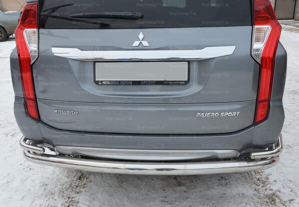 Защита заднего бампера угловая большая двойная Mitsubishi Pajero Sport (2017-)