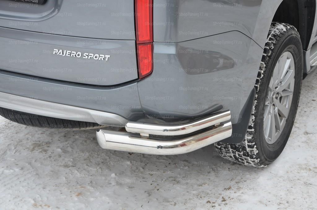 Защита заднего бампера уголки двойные Mitsubishi Mitsubishi Pajero Sport (2017-)
