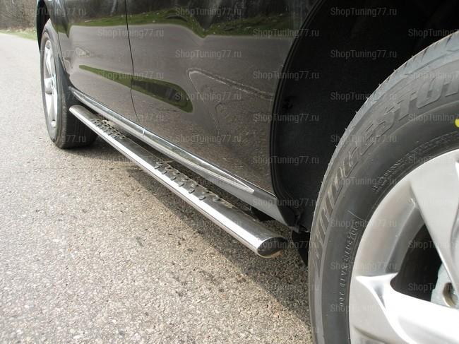 Пороги овальные с проступью 75*42 мм Nissan Murano (2009-)