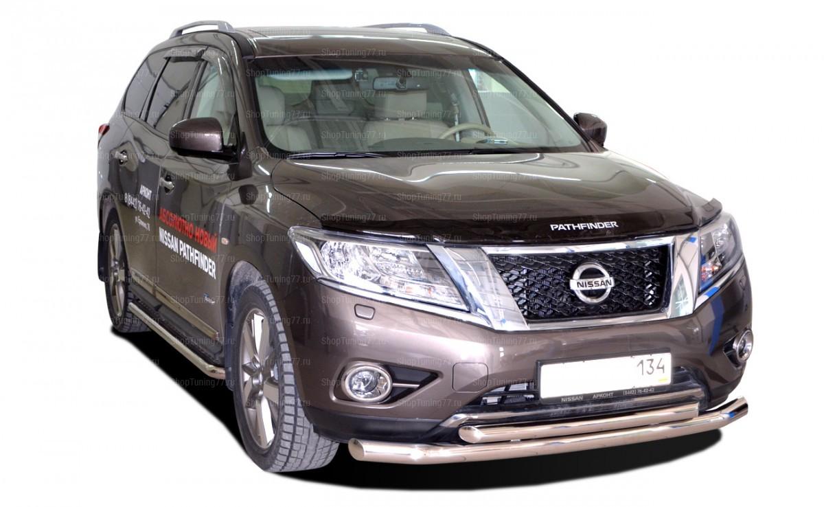 Защита переднего бампера двойная 60-42 мм Nissan Pathfinder (2015-)