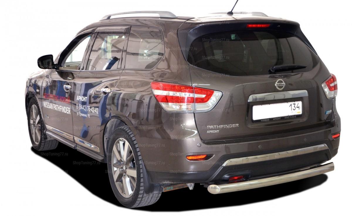 Защита заднего бампера (радиус) Nissan Pathfinder (2015-)