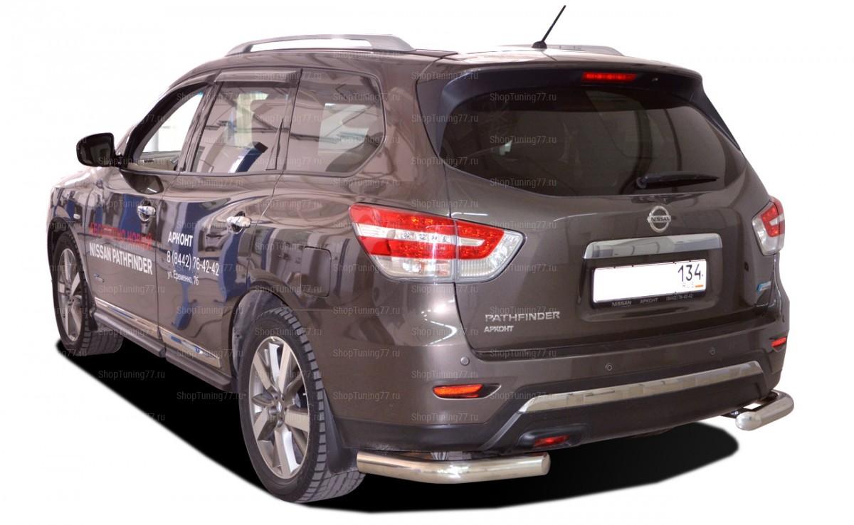 Защита заднего бампера угловая 76мм Nissan Pathfinder (2015-)