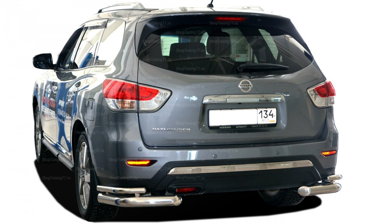 Защита заднего бампера угловая двойная (76/42 мм) Nissan Pathfinder (2015-)