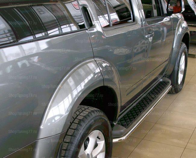 Защита штатного порога труба Nissan Pathfinder