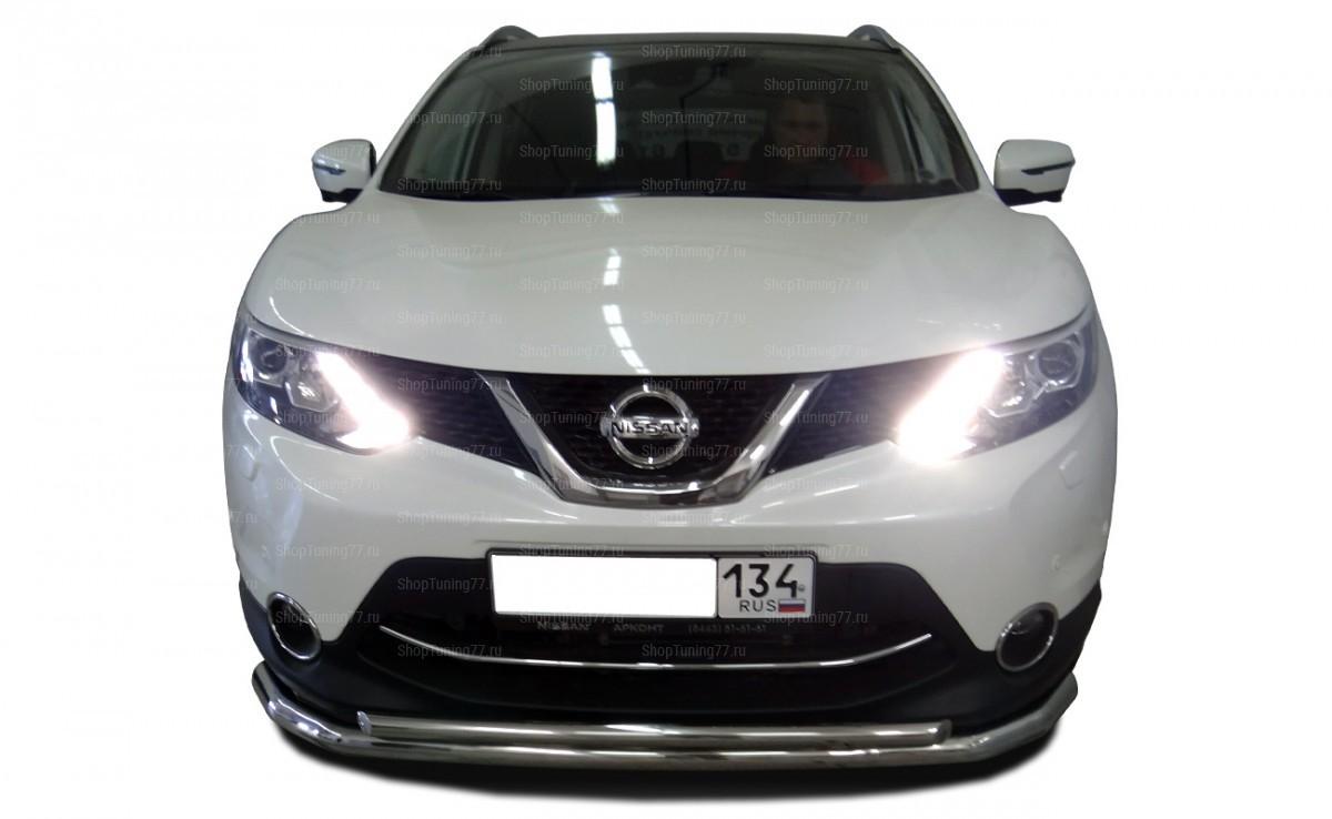 Защита переднего бампера двойная 60/42 мм Nissan Qashqai (2014-)
