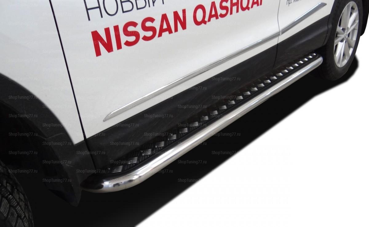 Пороги с накладным листом труба 42 мм Nissan Qashqai (2014-)