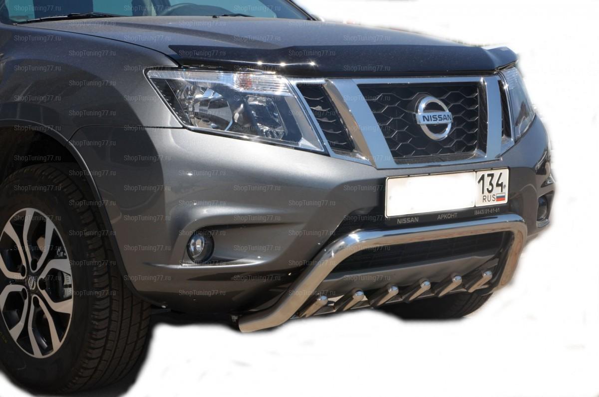 Защита переднего бампера низкая скоба+акула 53/42 мм Nissan Terrano (2015-)