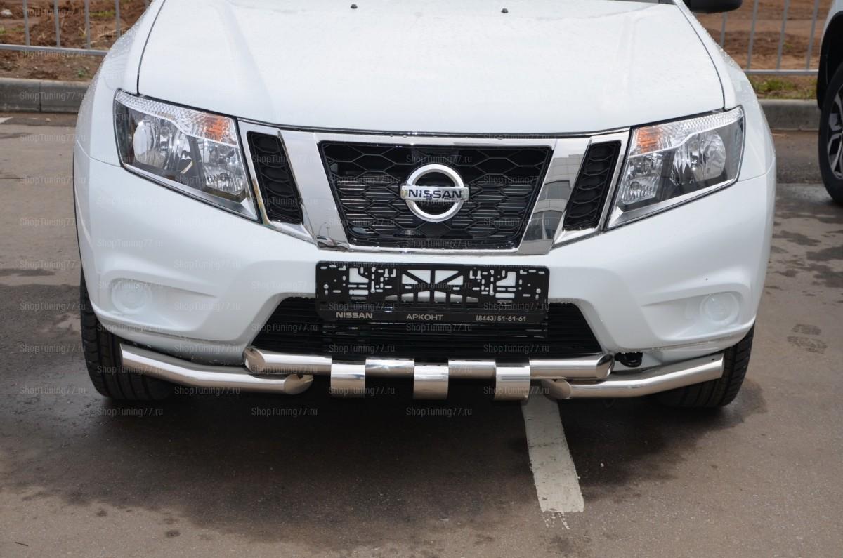 Защита переднего бампера (G) 60/60 мм Nissan Terrano (2015-)