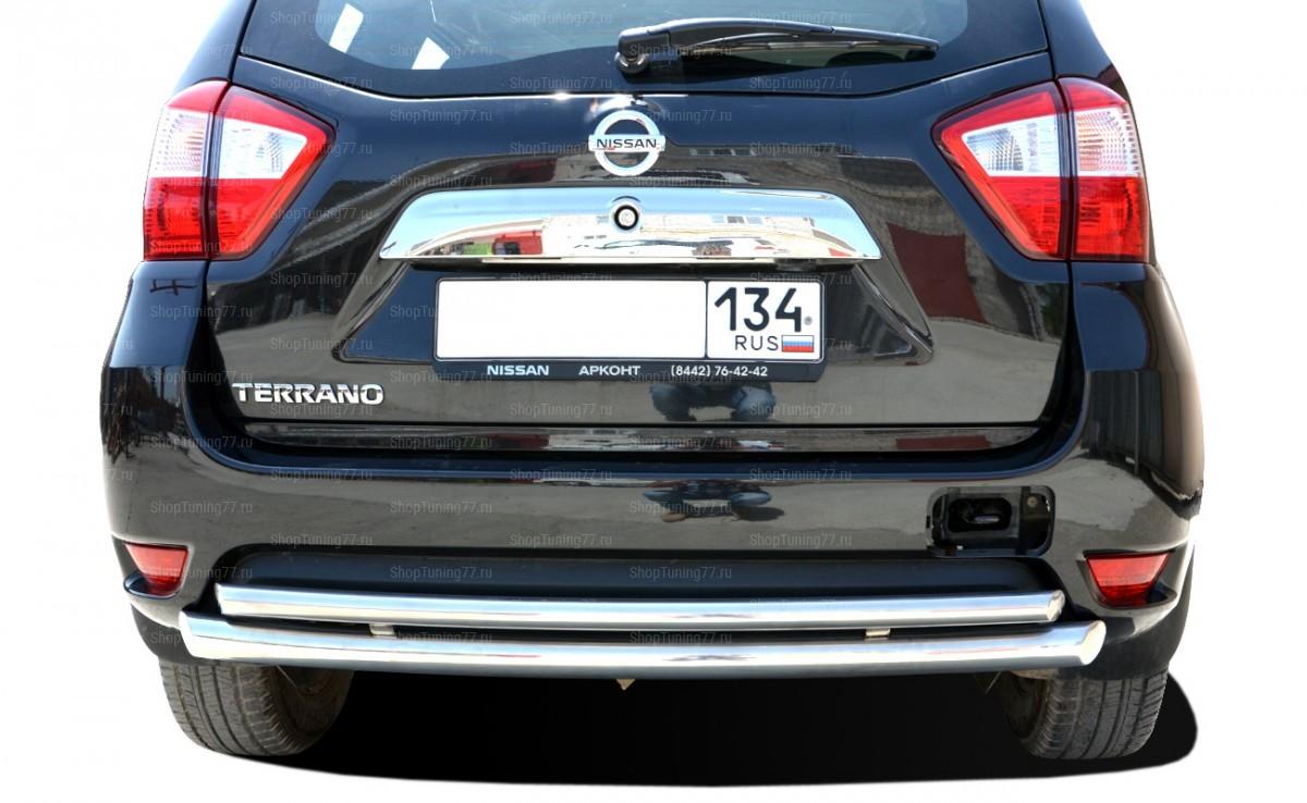 Защита заднего бампера двойная радиус 60/42 мм Nissan Terrano (2015-)